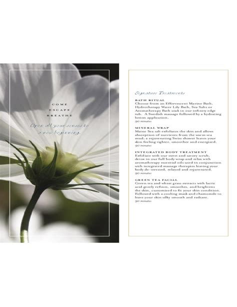 spa menu of services template spa menu of service the white barn inn free