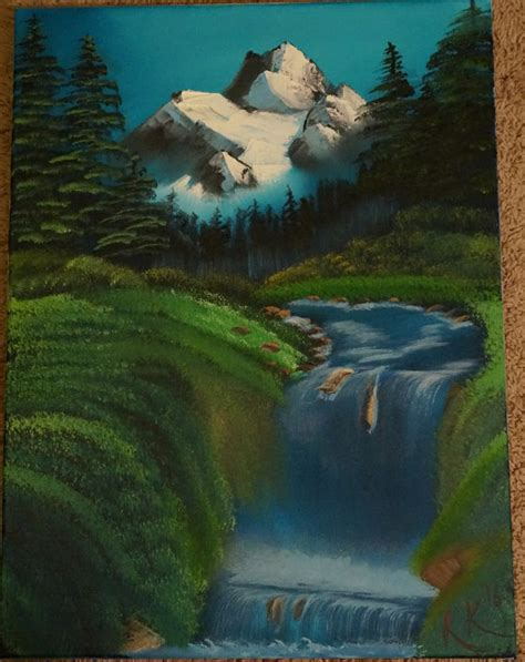 bob ross painting valley view bob ross style original valley waterfall