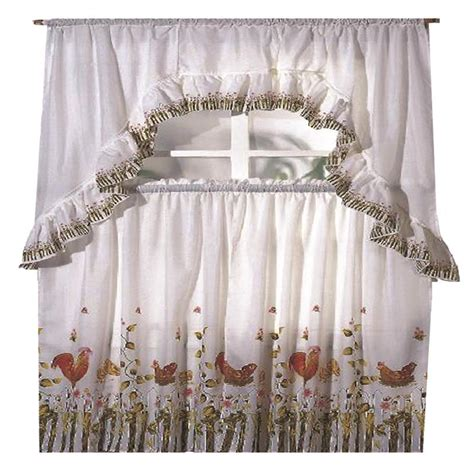 chicken curtains kitchen rooster printed kitchen curtain swag set ebay