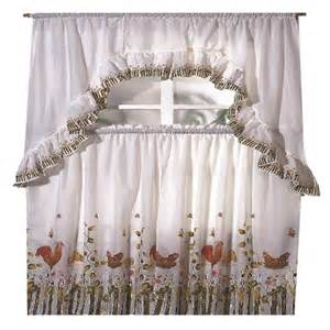rooster printed kitchen curtain swag set ebay