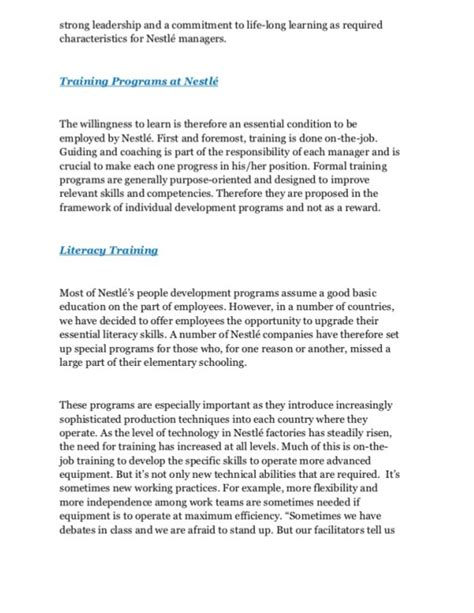 And Development Notes For Mba Students by Study Of Nestle And Development