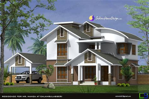 home design roof plans modern sloped roof kerala home design in 2444 sqft by