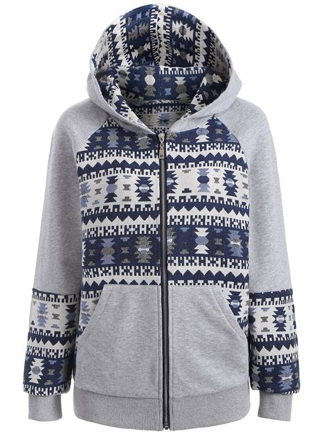 tribal pattern jackets tribal pattern jacquard hoodie in blue gray xl