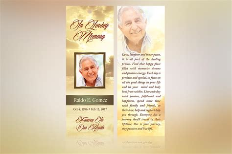 funeral bookmarks template free forever funeral bookmark template inspiks market