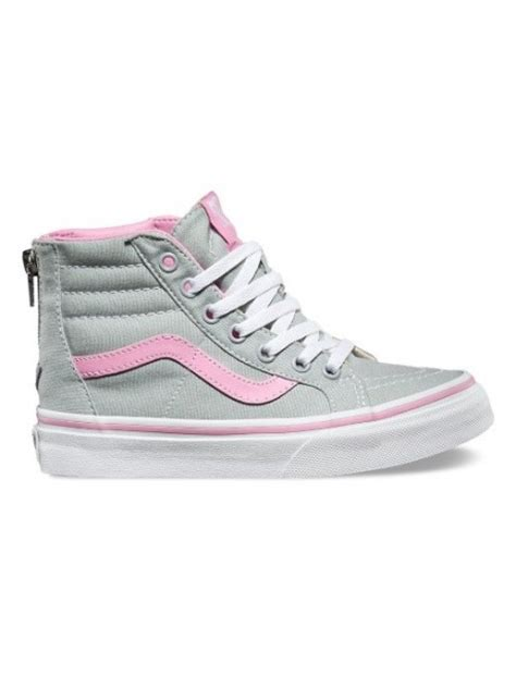 vans shoes sk8 hi zip youths grey pink sizes 11 4 kid s shoes nz foot forward shoes