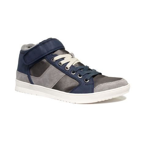 guess sneakers mens guess teddy hitop sneakers in blue for lyst