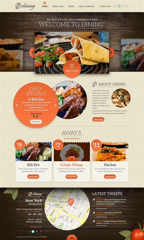 Dining Restaurant Psd Template Psd Web Templates Pixeden Restaurant Website Template