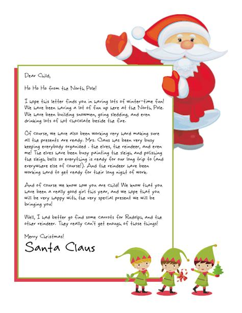 printable return letter from santa easy free letters from santa customize your text and