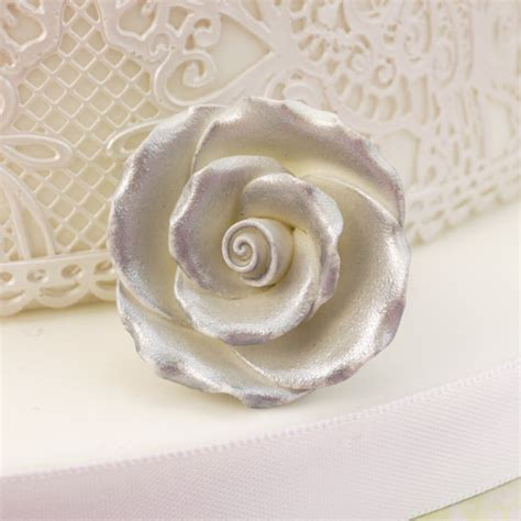 Handmade Sugar Roses - pack of 10 handmade sugar roses in silver
