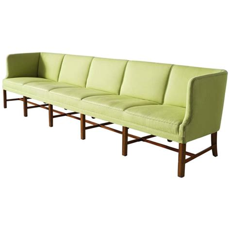 Extreme Long Danish Modern Sofa In Green Upholstery For Green Modern Sofa