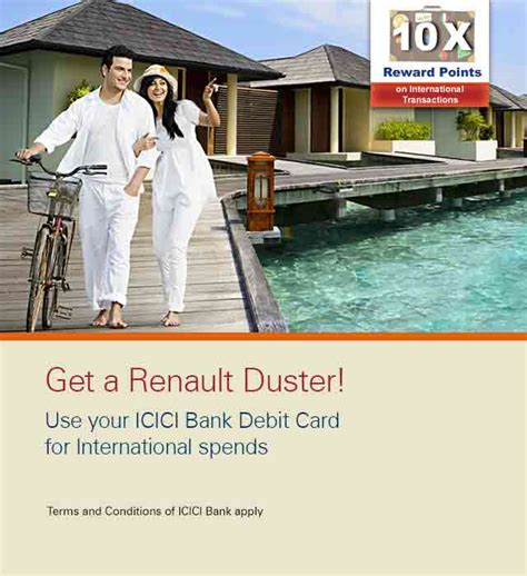 icici bank international branches icici debit card offer win renault duster icici bank