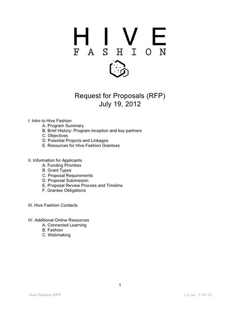 hive fashion rfp