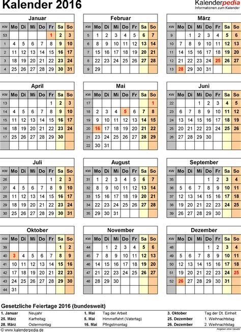 Kalender 2016 Jahresansicht Kalender 2016 In Excel Zum Ausdrucken 16 Vorlagen