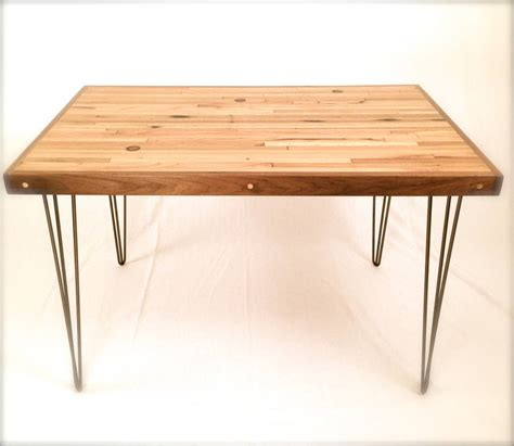 small dining table oak and walnut hairpin legs by