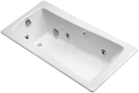 kohler bathtubs with jets kohler k845h2 maestro collection 66 drop in jetted whirlpool bath tub with re white