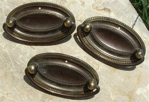 antique oval drawer pulls set of three oval vintage brass drawer pulls by