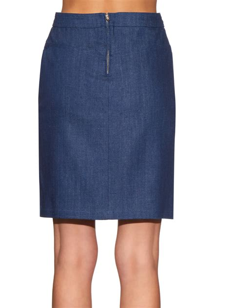 a p c high rise stretch denim skirt in blue lyst