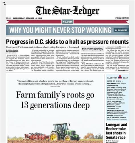today s ledger page 1 with top stories and links nj