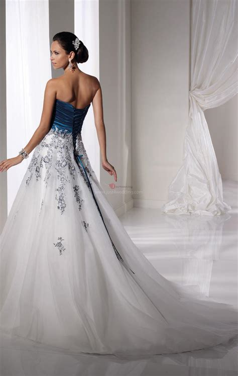 Tall White and Blue Wedding Dress   A Trusted Wedding Source by Dyal.net