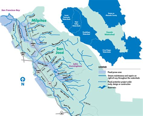 san jose water supply map creeks and rivers display san francisco bay wildlife