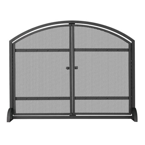 fireplace screen home depot uniflame 1 panel arch top black wrought iron fireplace