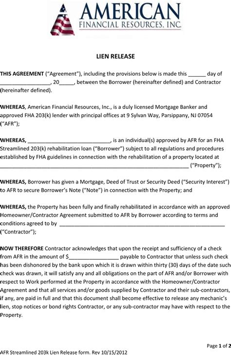 Lien Release Letter From Bank new jersey lien release form for free tidyform