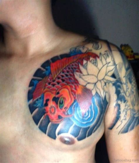 koi fish chest tattoo 60 cute fish tattoos on chest