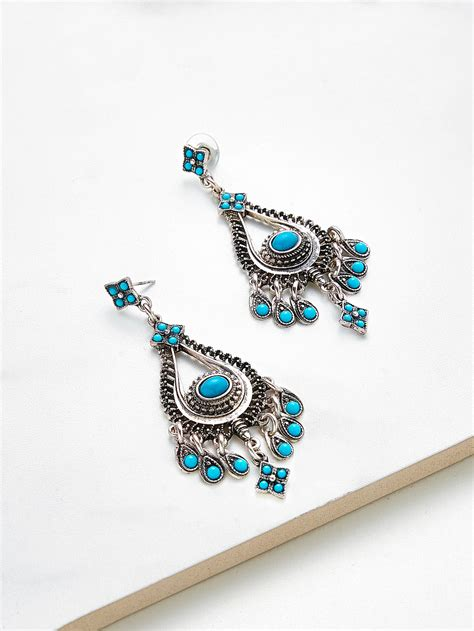 Decorated Cat Earring T6ea8e turquoise decorated water drop shaped earrings emmacloth