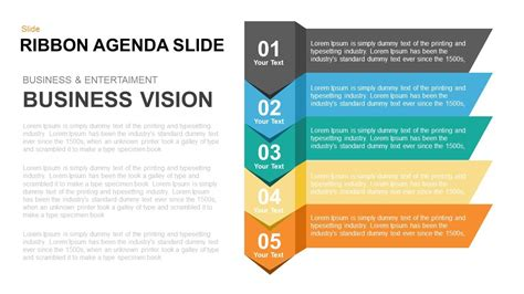 Ribbon Agenda Slide Powerpoint And Keynote Template Powerpoint Agenda Slide