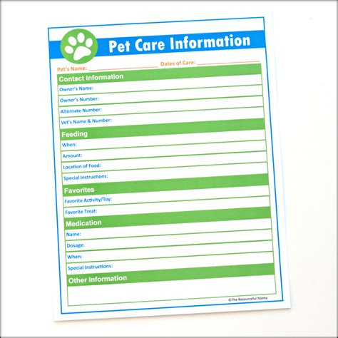 care information pet care information printable for pet sitters the resourceful