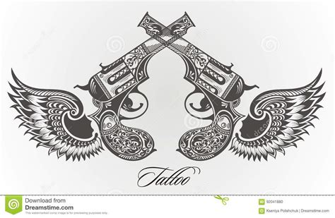 harry styles tattoo vector guns with wings tattoo design stock vector image 92041880