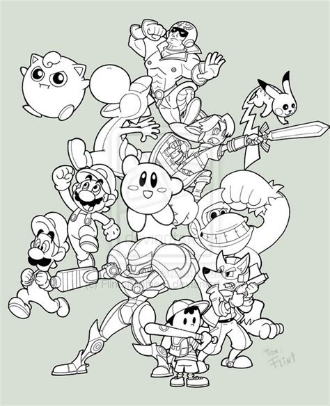 Smash Bros Coloring Pages Images Color Page Smash Bros