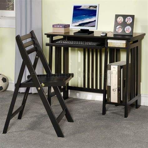 Modern Folding Desk by Black Finish Modern Folding Home Office Desk W Chair