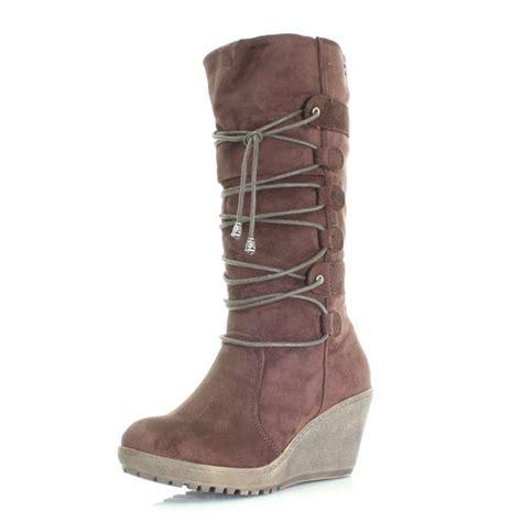 chocolate brown high heel boots womens xti chocolate brown wedge heel winter calf