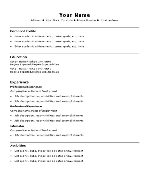 Basic Resume Template   Template Design