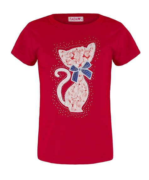 t shirt design application girls cat lace diamante application t shirt kids fashion