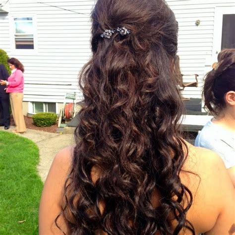 prom hairstyles half up half down curly prom hair do curls half up half down by paula e preen me