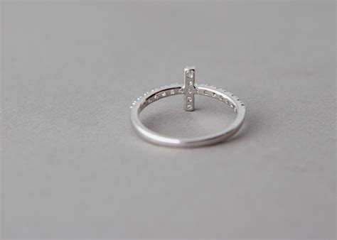 cz sideways cross ring white gold plated horizontal side