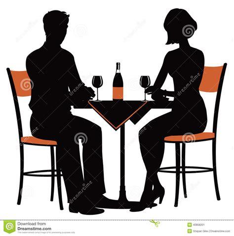 dinner silhouette dinner date silhouette clipart