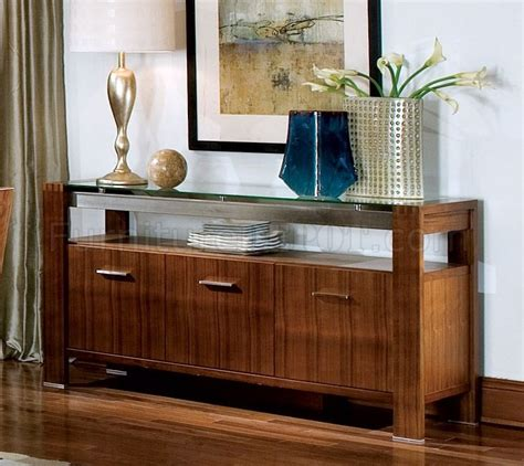 contemporary walnut finish dining buffet wclear glass top