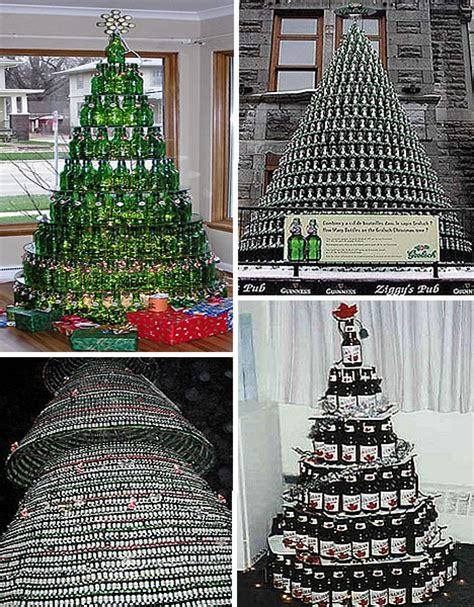 rum bottle xmas tree 18 clever trees created with recycled materials webecoist