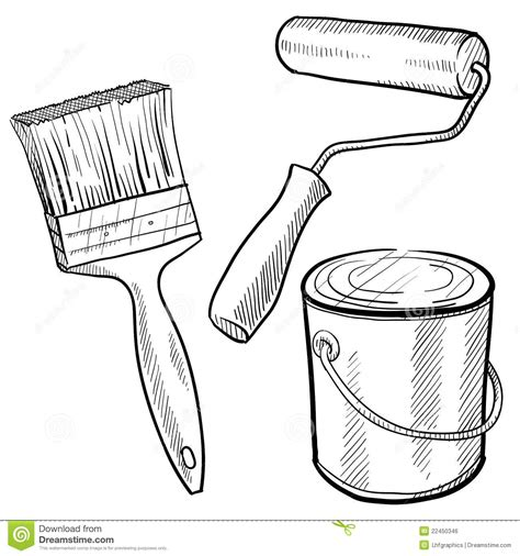 doodle paint draw painting equipment drawing stock vector image of roller