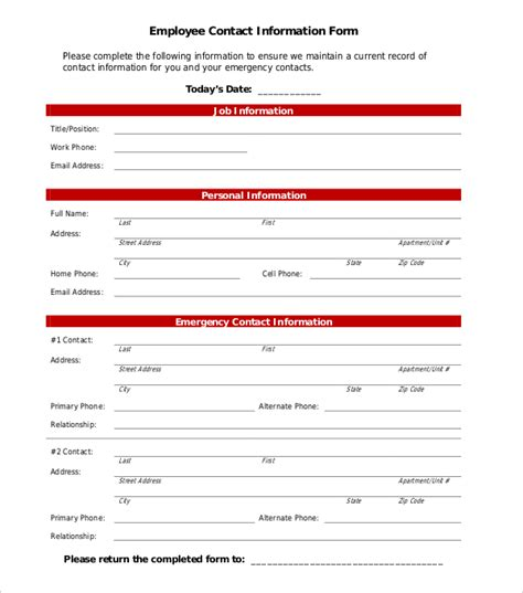11 Sle Employee Information Forms Sle Forms Staff Emergency Contact Form Template