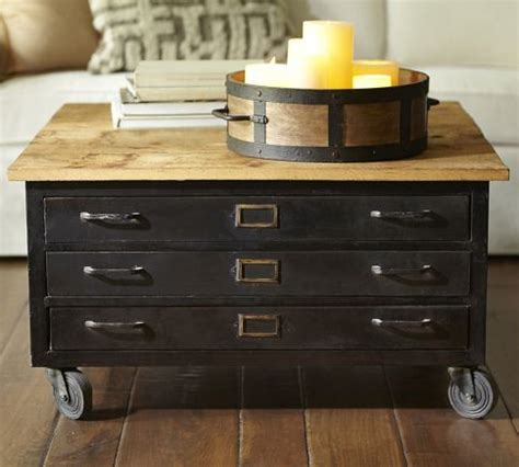 Coffee Table With Wheels Pottery Barn Library Flat File Coffee Table Pottery Barn I Can Diy It With Faux Drawers And Handles And