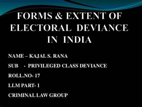 Mba Forms In India by Forms Extent Of Electoral Deviance In India