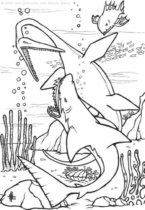 Coloriages dinosaures marins - fr.hellokids.com