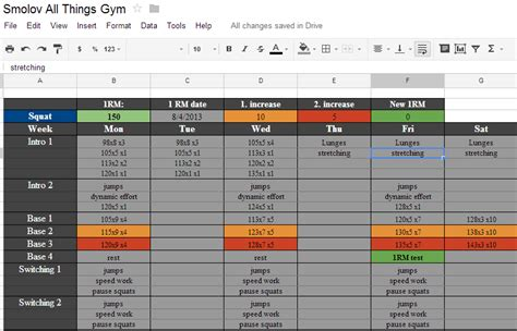 smolov jr bench spreadsheet smolov squat routine spreadsheet includes smolov jr