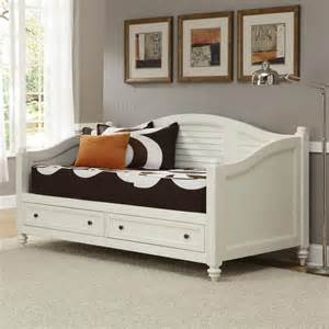 Daybed With Storage Underneath Shop Home Styles Bermuda Brushed White Daybed With Bed Storage At Lowes