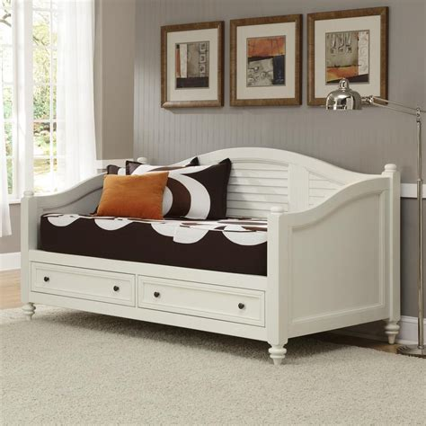 White Daybed With Storage Shop Home Styles Bermuda Brushed White Daybed With Bed Storage At Lowes