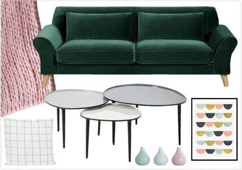 Merveilleux Tapis De Salon Blanc #8: Deco-avec-un-canape-vert-fonce-style-scandinave.png